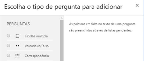 TIPO DE PERGUNTAS - SUGESTÃO DE CONFIGURAÇÃO